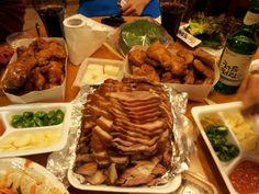한국 야식의 왕, 족발 & 통닭♥ 맑은소주 처음처럼~