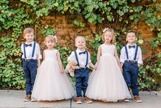 Arpasi Photography, flower girl and ring bearer, ring bearer navy suspenders, navy bowties ring bearer, light pink flower girl dress
