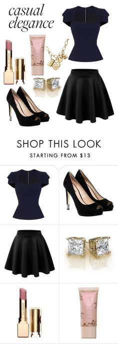 """""""Untitled #402"""" by annawell-1 ❤ liked on Polyvore featuring Roland Mouret, GUESS, LE3NO, Clarins and Tiffany & Co."""