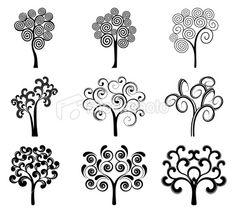 Swirly trees Royalty Free Stock Vector Art Illustration