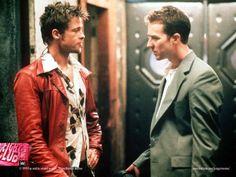 "Tyler Durden (Brad Pitt) in ""Fight Club"". Craziest moment: it's hard to top the moment when the narrator ( yep, Tyler Durden and the narrator are one and the same person), beats himself to pulp. David Fincher, Brad Pitt, Tyler Durden, Winona Ryder, Jim Carrey, Martin Scorsese, Movie Plot, Movie Tv, Hugh Jackman"