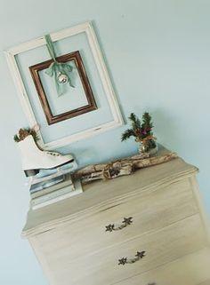 beautiful winter vignette -- love the dresser finish!