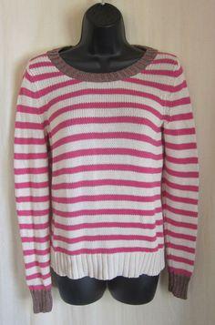 BANANA REPUBLIC Women's Pink Ivory Brown Metallic Striped Sweater S Small #BananaRepublic #BoatNeck