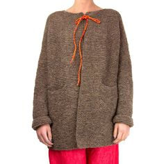 Daniela Gregis, Natural beige wool cardigan with orange fluo lace and pockets. 100% wool.