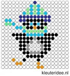 Kralenplank pinguin 5, kleuteridee.nl , thema Noordpool & Zuidpool , free printable Beads patterns preschool.
