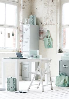 Good natural light home office. Soft and airy color scheme emphasizes the light. Perfect rustic wall with the modern furniture Decoration Inspiration, Workspace Inspiration, Room Inspiration, Home Office Space, Office Workspace, Small Workspace, Office Spaces, My Dream Home, House Design