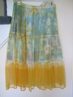 Like new Max Mehra Collection skirt, sheer yellow tiered midi over tie dye mini, made in India.  Fab!  Just $28 and free shipping at my Bonanza shop.