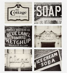 Vintage Sign Print Collection, Kitchen Decor, Shabby Chic Home Decor, Set of 6 Prints, Black And White, Cream, Rustic Decor - I love these