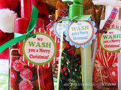 """Christmas gift for teachers — Hand soap or hand sanitizer with """"We WASH you a merry Christmas"""" gift tag"""