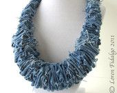 Items similar to Organic Look Blue Denim Jean Fabric Fiber Necklace on Etsy