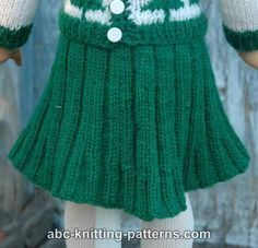 ABC Knitting Patterns - Free American Girl Doll Pleated Skirt.