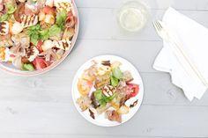 Panzella: Italian bread salad with prosciutto, tomato, basil, peach and halloumi