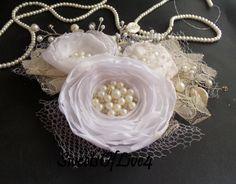 Wedding hair flower Bridal hair flower Wedding hair accessories Bridal hair accessories Wedding  Lace  Vintage white AU$50.88