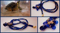 Skleněná želvička se šnůrou herringbone pro úžasnou sousedku (ta živá želvička je její :-D)