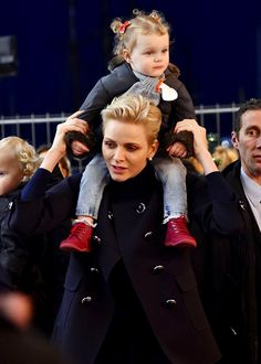 Princess Charlene with twin daughter Gabriella at the Christmas Village in Monaco. Dec. 2016
