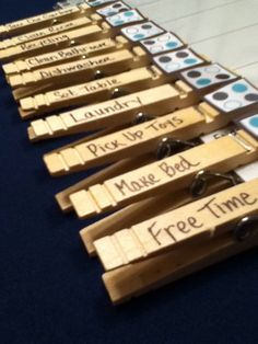 Clothespins....easy!!! Weekly clothespin chore chart by CourtneyslilBoutique on Etsy, $5.00
