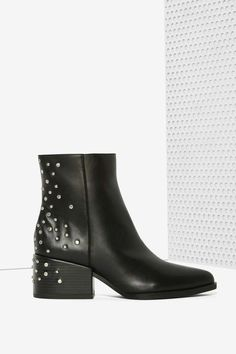 Black Studded Leather Boot