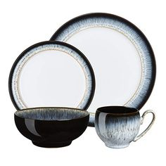Dine in sophisticated style with this black 'Halo' sixteen piece dinner set from Denby. The sleek black rim and glossed finish create a minimal elegance sure to impress your guests. Stoneware Clay, Ceramic Plates, Halo, Shabby Chic Vintage, Black Rims, Two Tones, Dinner Sets, Jewelry Rings, Pottery