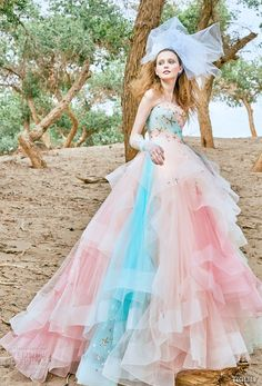 tiglily 2018 bridal strapless sweetheart neckline heavily embellished bodice layered tulle skirt pastel pink multicolor ball gown a  line wedding dress  (shaula) mv  -- TIGLILY 2018 Wedding Dresses