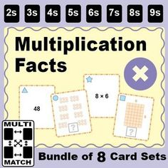 Multi-Match Game Cards BUNDLE: Multiplication Facts. This resource contains 8 different printable 36-card sets for practice with multiplication facts. Use the cards for easy-to-learn matching activities and games. The same games can be played with any set
