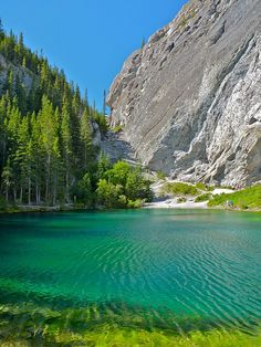 The emerald colours of Grassi Lakes in Canmore, Alberta, Canada