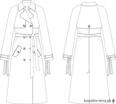 Flat Drawings, Flat Sketches, Dress Design Sketches, Fashion Design Sketches, Trench Coat Style, Cute Casual Dresses, Burberry Trench, Technical Drawing, Fashion Line