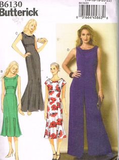Butterick B6130, Sewing Pattern,  Misses' Dresses, Jumpsuits, Size 14, 16, 18, 20, 22, Plus Size by OhSewWorthIt on Etsy
