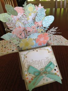 Card-In-A-Box!  Using the gorgeous Designer Series Paper 'Sweet Sorbet' from the Sale-a-Bration catalogue!  I hand cut the flowers from the paper.