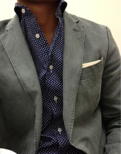 Blazer, great shirt....lose the pocket square for a darker color.