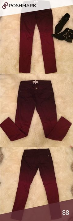 Ombré skinny jeans. Size 5 Ombré skinny jeans. Size 5. Burgundy/Berry red. Worn only a few times. Great condition. Jolt Jeans Skinny
