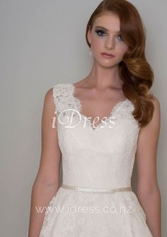 c1cfd06ba Scalloped V-neck Sleeveless Tea Length Alluring Ivory Lace Wedding Dress