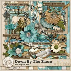 Digital Scrapbook Kit, Down by the Shore by Cindy Ritter