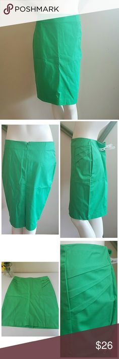 """NWT. Green Pencil Skirt NWT. Green skirt. Zipper in back. Some stretch. Textured panels on the sides of hip. Slit. Pencil silhouette.  Measurements: Length 22.5"""" waist 28"""" hip 37.5""""  Make an offer, bundle and Ill send you a private offer, or bundle to get the bundle discount. Always willing to negotiate! New York & Company Skirts Pencil"""
