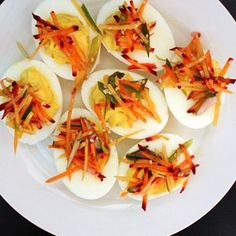The satan is inside the information—punch up this brunch and cocktail hour deviled egg staple with a few zesty, crunchy pickled carrots. Carrot Recipes, Egg Recipes, Soup Recipes, Cooking Recipes, French Side Dishes, Pickled Carrots, Egg Sandwiches, Deviled Eggs Recipe, Easter Brunch