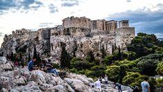 Landscape photograph of the Acropolis of Athens.