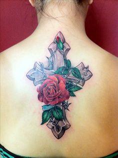 Cross, flower, rose tattoo