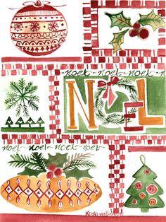 Original Watercolor Painting Christmas Noel by SimplyArtByKristin, $45.00