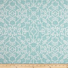 Screen printed on cotton twill, this versatile lightweight fabric is perfect for window accents (draperies, valances, curtains, and swags), accent pillows, duvet covers, and upholstery projects. Colors include teal and white.