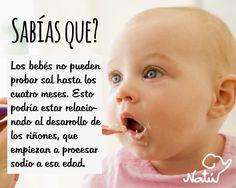 Sabías que los bebés no pueden probar sal hasta los cuatro meses? #datoscuriosos #bebés
