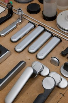 Dieter Rams, prototypes for handles in the workshop, Rams House, Kronberg, Frankfurt, Germany