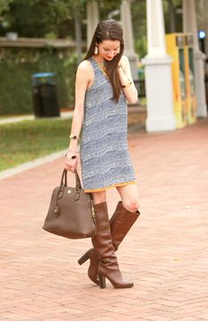 Adorable and tailgate-appropriate navy shift dress from Never Naked Boutique Brown High Heel Boots, Brown Boots, Tall Boots, Knee Boots, High Heels, Ladies Wellies, Womens Thigh High Boots, Stylish Outfits, Fashion Outfits