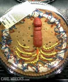 Cake Wrecks -More like Cake Fail!  Fourth of July phallus.. I'm guessing that is supposed to be a rocket or firecracker?