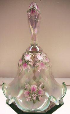 *FENTON ART GLASS ~  BELL Fr Opalescent Willow Crest w Pink Buds