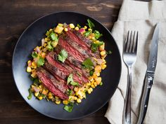 Quick-cooking skirt steak is topped with a charred corn salsa mixed with sweet summer peaches for a weeknight meal thats ready in just 15 minutes.
