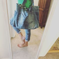 Denim tote bag or messenger bag Airplane Carry On, Denim Tote Bags, Green Print, Casual Bags, Distressed Denim, Denim Skirt, Messenger Bag, Buy And Sell, Skirts