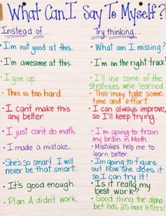 """bibliophilenycmom: """" This is hanging on the wall in Lily's classroom. I love this! Teaches you to replace the self deprecating thoughts with positive encouraging thoughts in our own inner monologues...."""