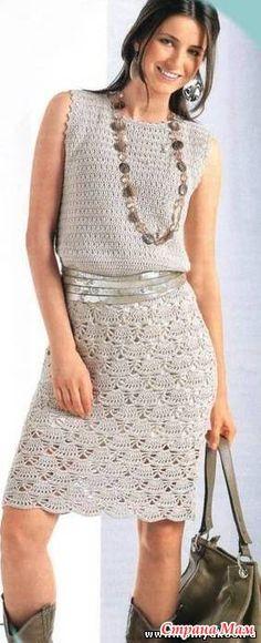 Платье с веерным узором размер + - ВЯЗАНАЯ МОДА+ ДЛЯ НЕМОДЕЛЬНЫХ ДАМ - Страна Мам