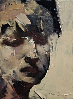 Who is this by? I love the simplicity of the portrait but the addition of heavy palette knife paint across the canvas works well .