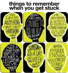 Things to remember when  you're stuck