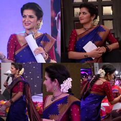 DD in a gorgeous blue kanjeevaram saree, embroidered red blouse, kemp rope necklace